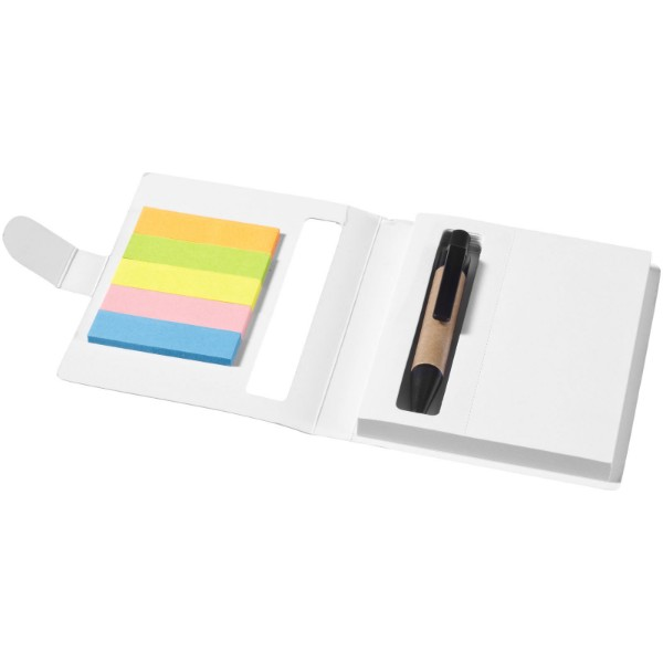 Reveal coloured sticky notes booklet with pen - White