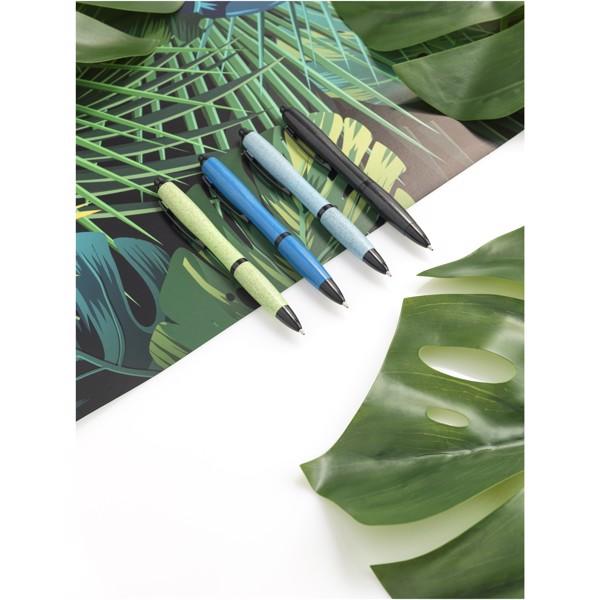 Długopis Nash ze słomy pszenicznej i czarną skuwką - Błękit Królewski