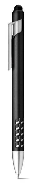 EASEL. Kuličkové pero s dotykovou špičkou a držákem na telefon - Černá