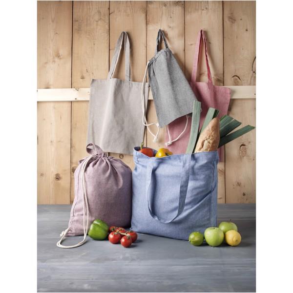 Pheebs batoh se stahovací šňůrkou ze směsi recyklované bavlny a polyesteru 150 g/m² - Heather modrá