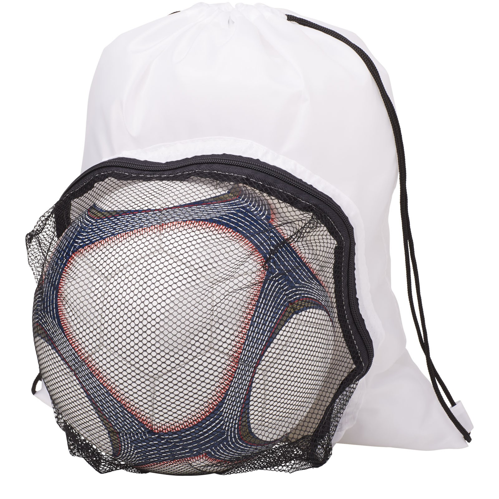 Goal drawstring backpack with football compartment - White