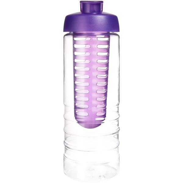 H2O Treble 750 ml lahev s vyklápěcím víčkem a infuzérem - Průhledná / Purpurová