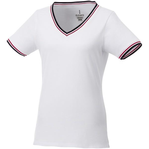 Elbert short sleeve women's pique t-shirt - White / Navy / Red / XXL