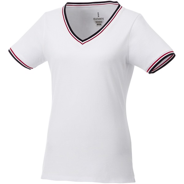 "Camiseta de pico punto piqué para mujer ""Elbert"" - Blanco / Azul Marino / Rojo / XXL"