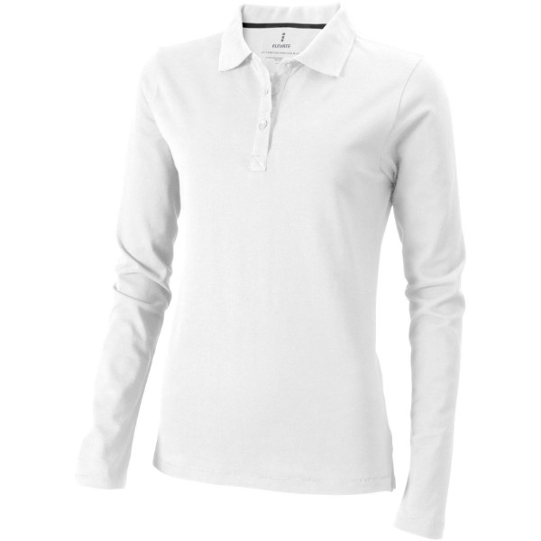 Oakville long sleeve women's polo - White / XXL