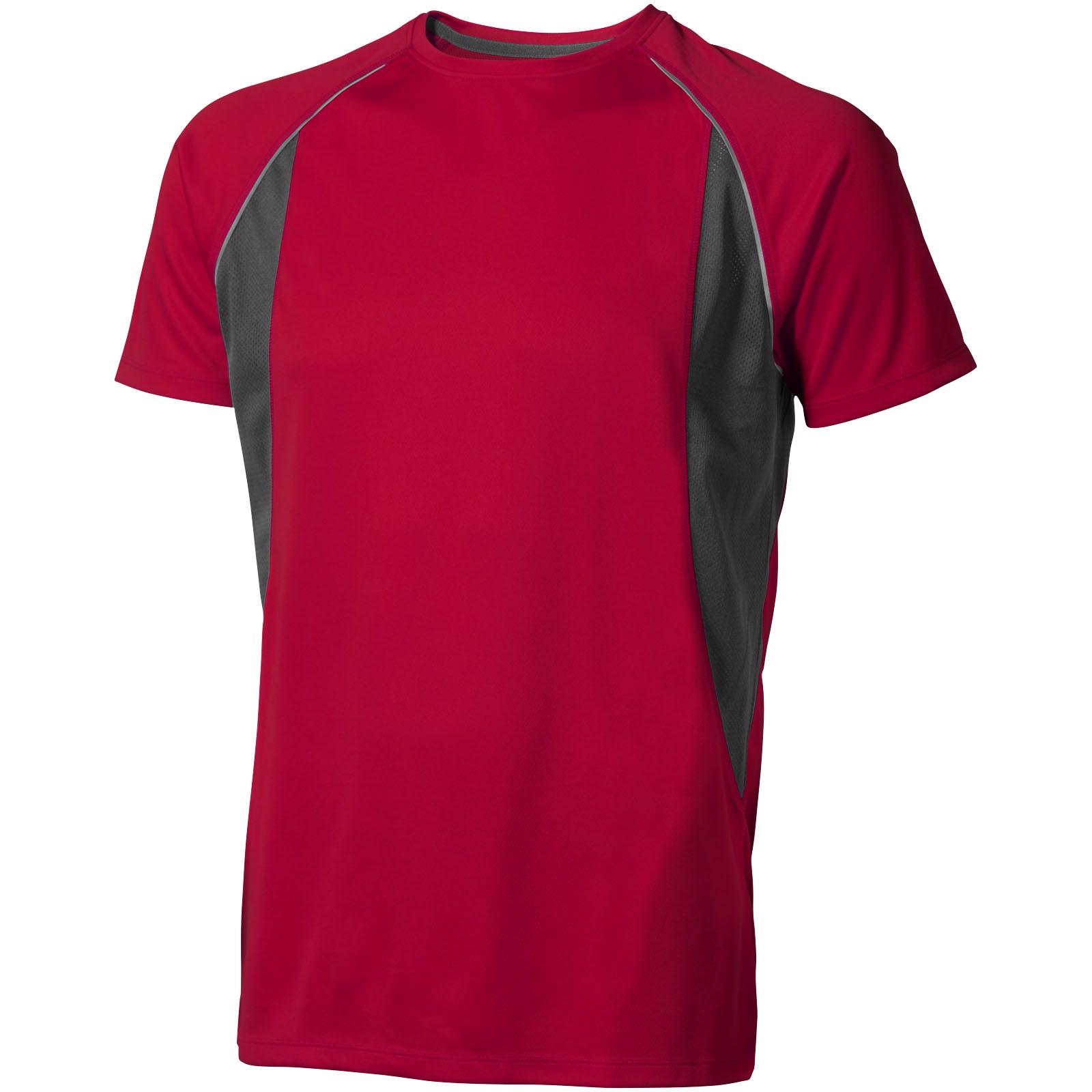 Pánské Tričko Quebec s krátkým rukávem, cool fit - Červená s efektem námrazy / Anthracitová / XXL