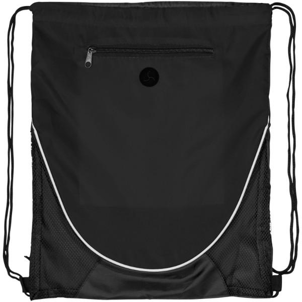 Peek zippered pocket drawstring backpack - Solid black