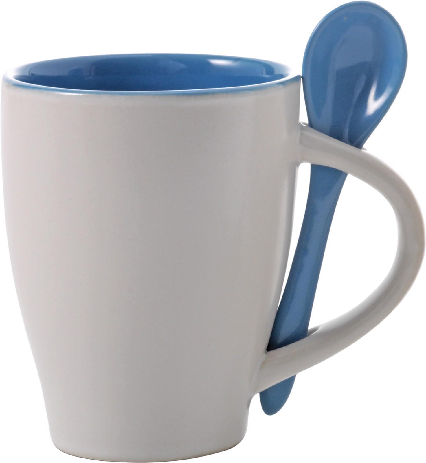 Ceramic mug with spoon - Light Blue