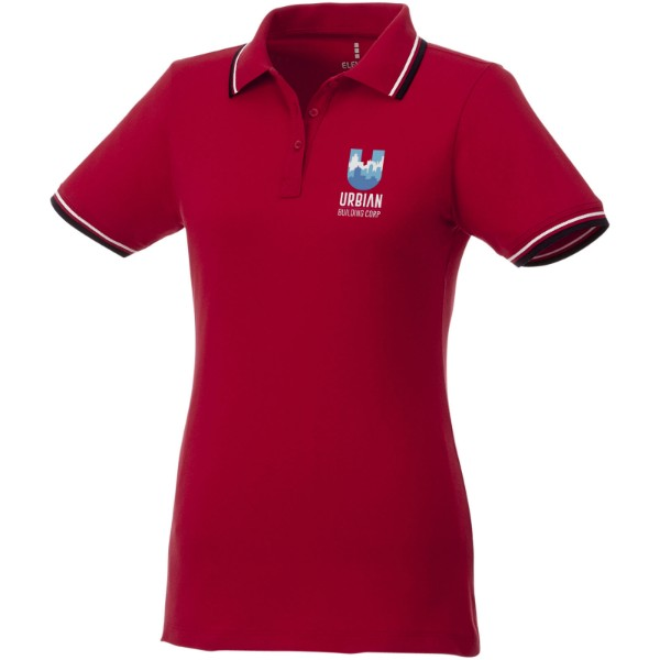Fairfield short sleeve women's polo with tipping - Red / Navy / White / XL