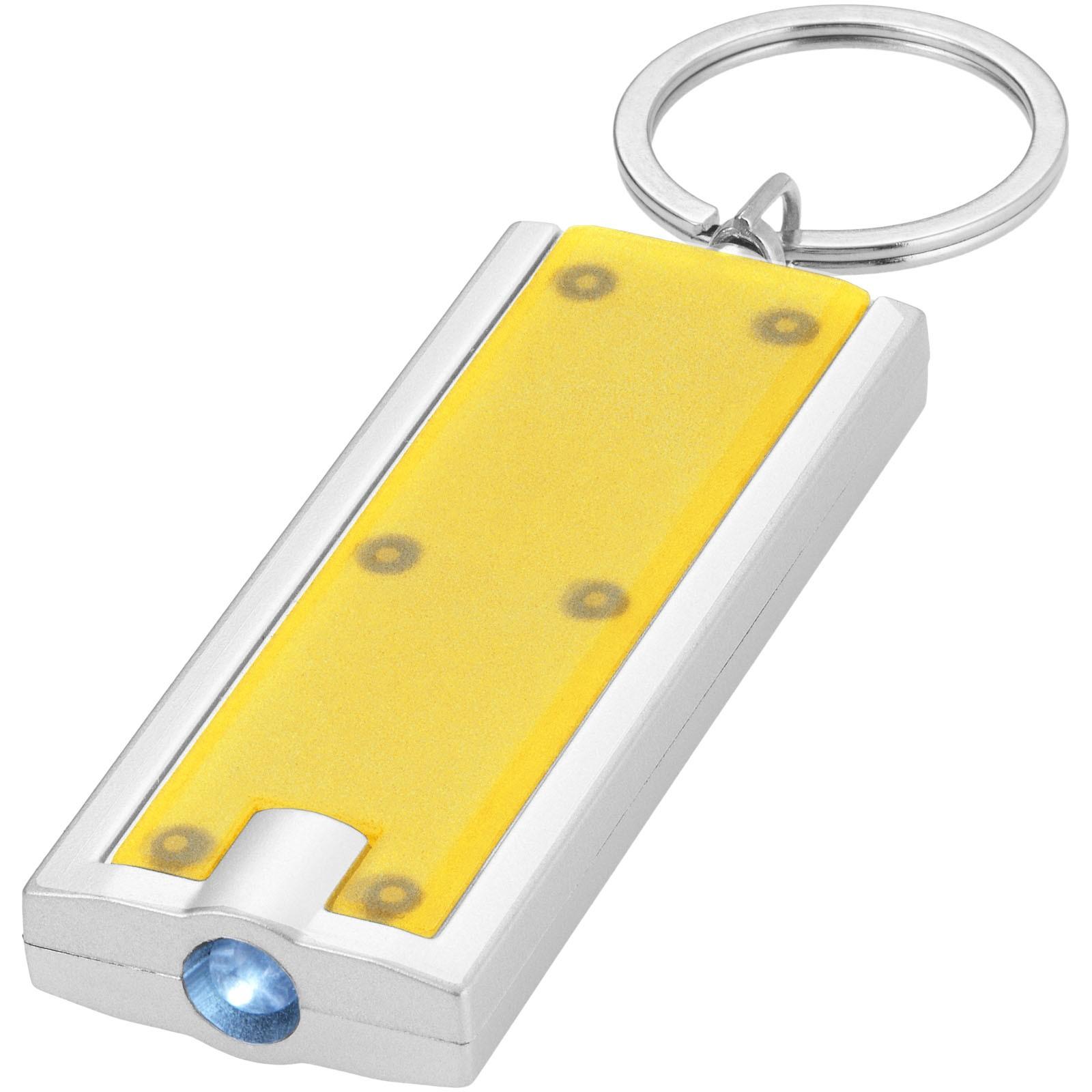 LED svítilna na klíče Castor - Žlutá / Stříbrný