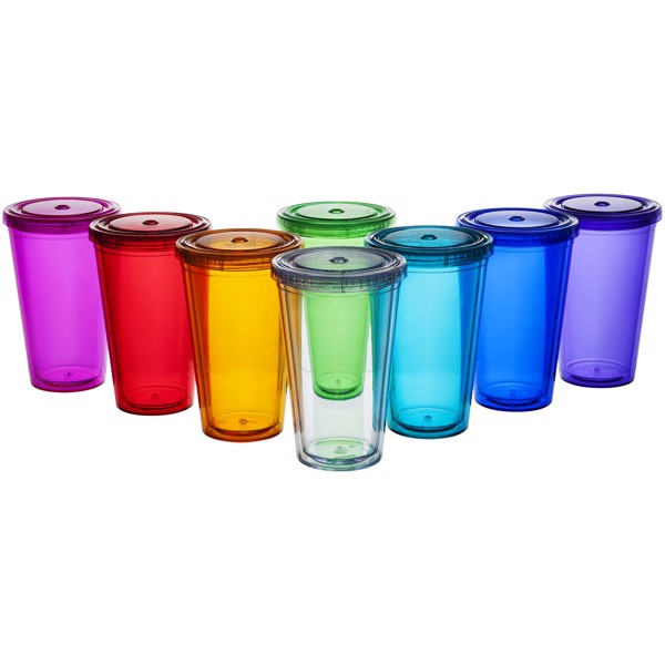 Cyclone 450 ml insulated tumbler with straw - Transparent