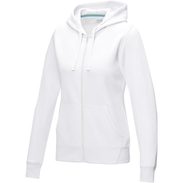 Ruby women's GOTS organic GRS recycled full zip hoodie - White / XL