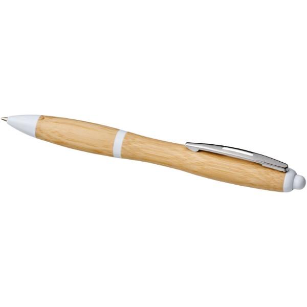 Kuličkové pero Nash z bambusu - Přírodní / Bílá