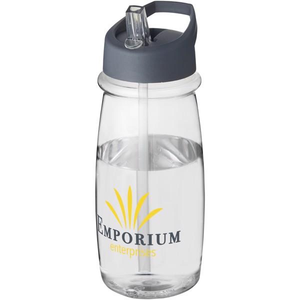 Sportovní láhev svíčkem shubičkou H2O Pulse 600 ml - Průhledná / Storm Grey
