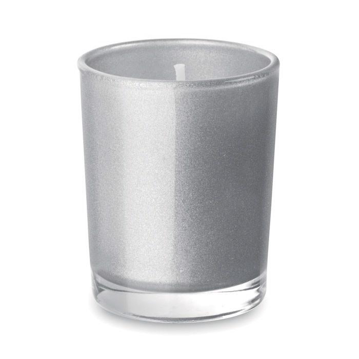 Mała szklana świeca Selight - srebrny mat