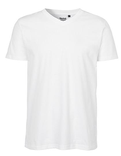 Men`S V-Neck T-Shirt - White / M