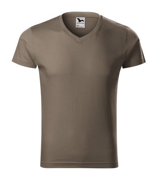 Tričko pánské Malfini Slim Fit V-neck - Army / 3XL