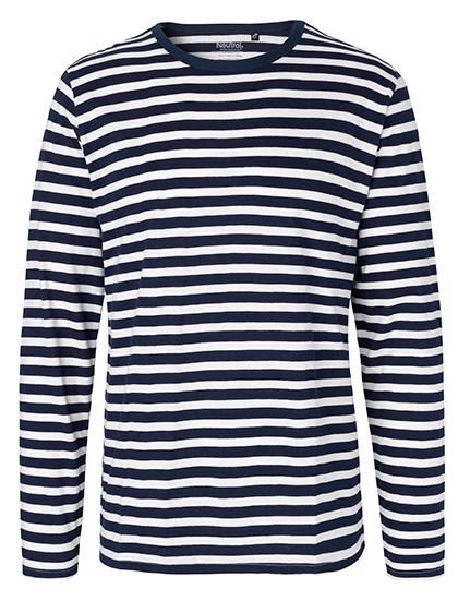 Men`S Long Sleeve T-Shirt - White - Navy  / M