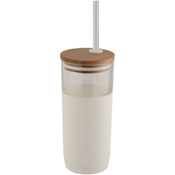 Arlo 600 ml glass tumbler with bamboo lid - White