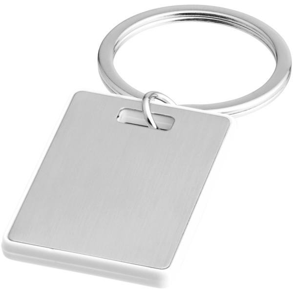 Obdélníkový přívěsek na klíče Donato - Bílá / Stříbrný