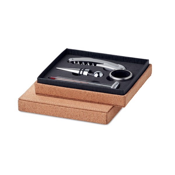 Wine set 4 pcs cork box Gisborne