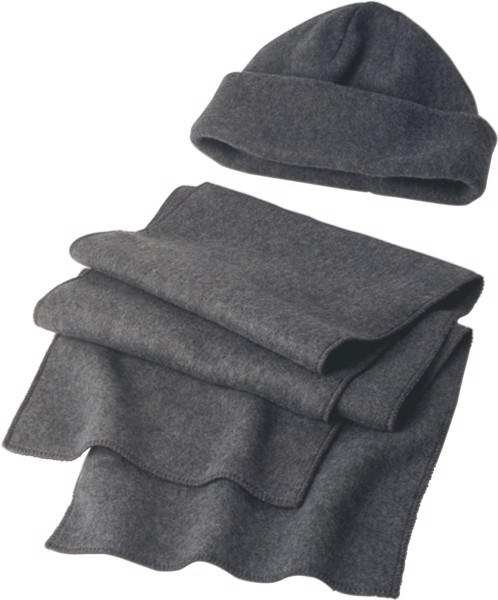 Polyester fleece (200 gr/m²) beanie and scarf - Grey