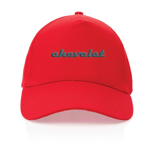 Impact 5 panel 190gr Recycled cotton cap with AWARE™ tracer - Red