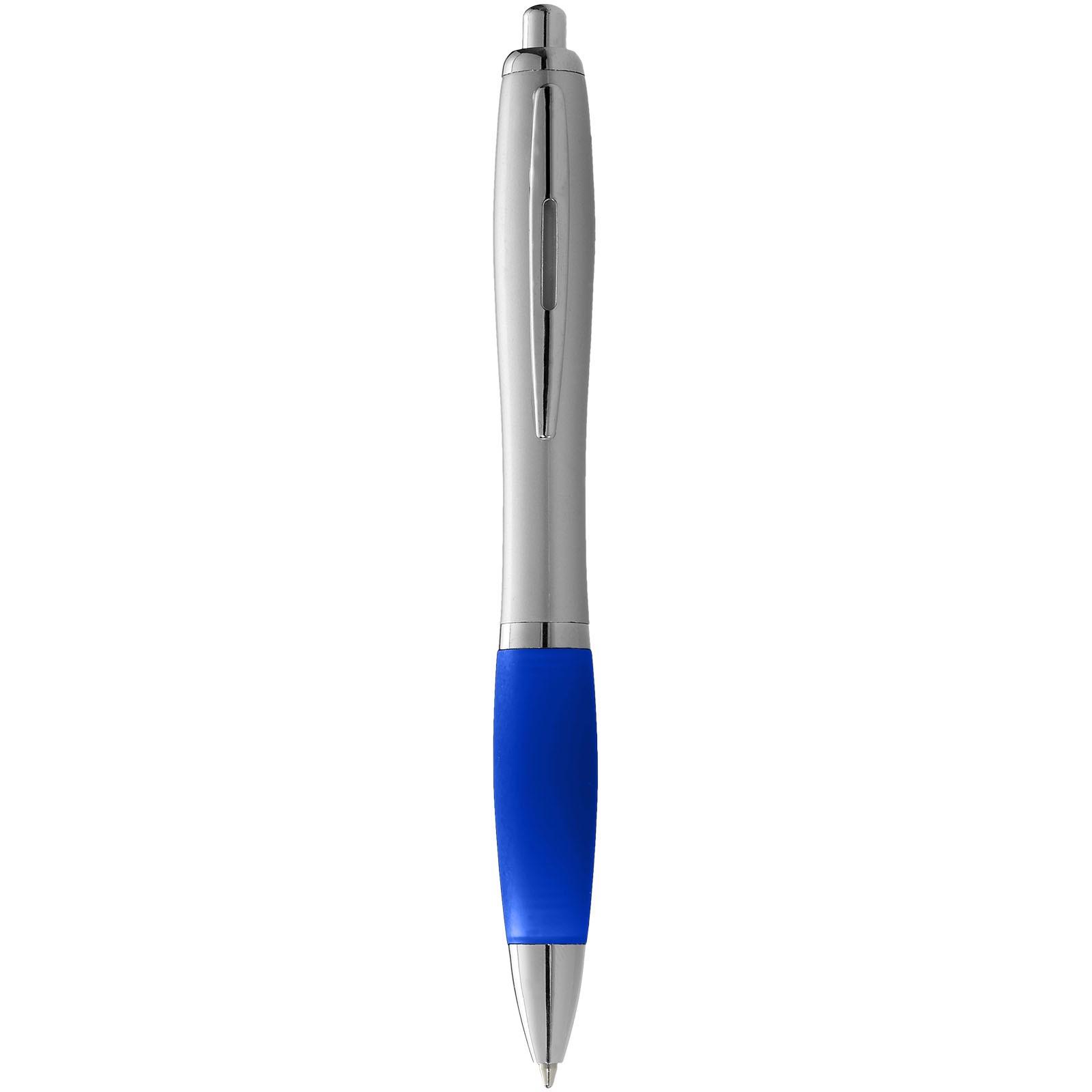 Stříbrné kuličkové pero Nash s barevným úchopem - Stříbrný / Světle modrá
