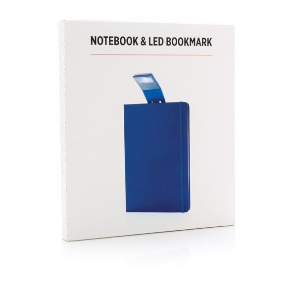 Poznámkový blok A5 s LED záložkou - Modrá