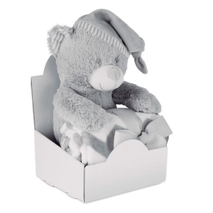 Plüschbär mit Fleece-Decke Osset