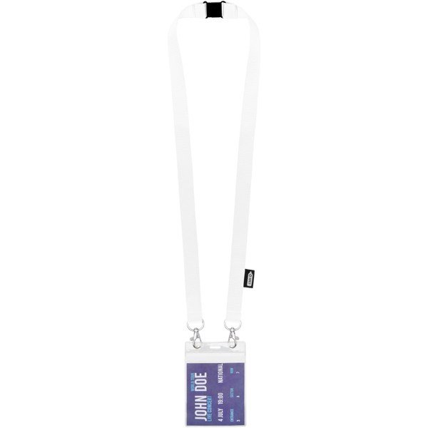 Adam recycled PET lanyard with two hooks - White