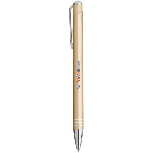 """Bolígrafo con pulsador moleteado """"Izmir"""" - Champán"""