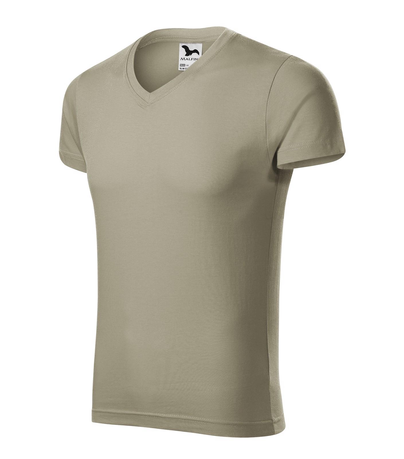 T-shirt men's Malfini Slim Fit V-neck - Light Khaki / L