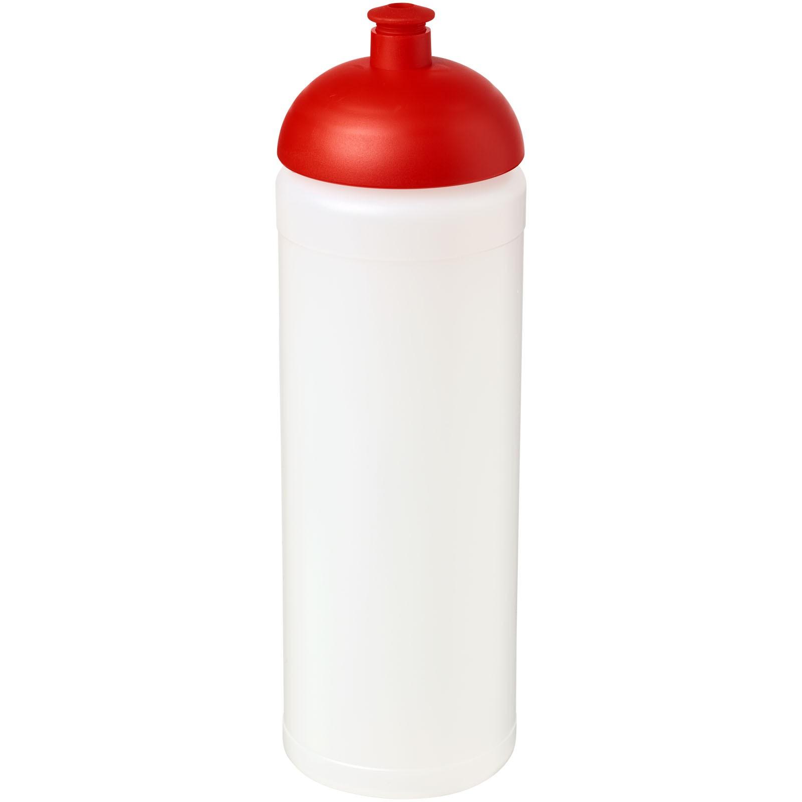 Sportovní láhev s kupolovitým víčkem Baseline® Plus grip 750 ml - Průhledná / Červená s efektem námrazy