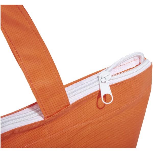 Privy zippered short handle non-woven tote bag - Orange