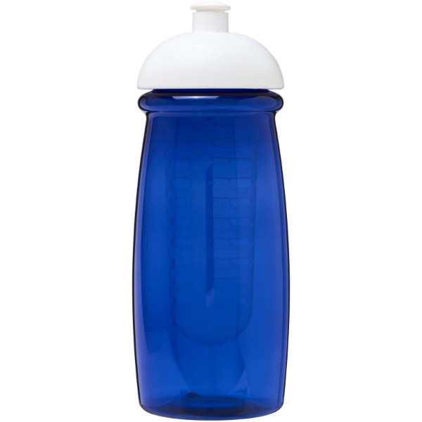 H2O Pulse® 600 ml dome lid sport bottle & infuser - Transparent blue / White