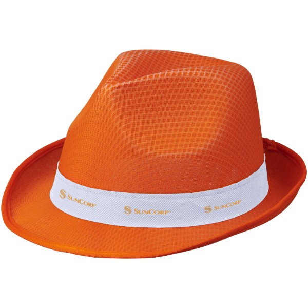 Trilby hat with ribbon - Orange / White