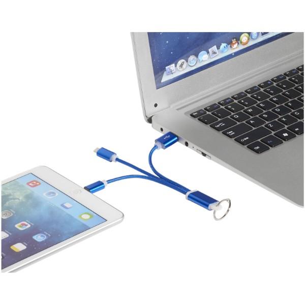 Kovový 3 v 1 nabíjecí kabel s kroužkem na klíče - Světle modrá