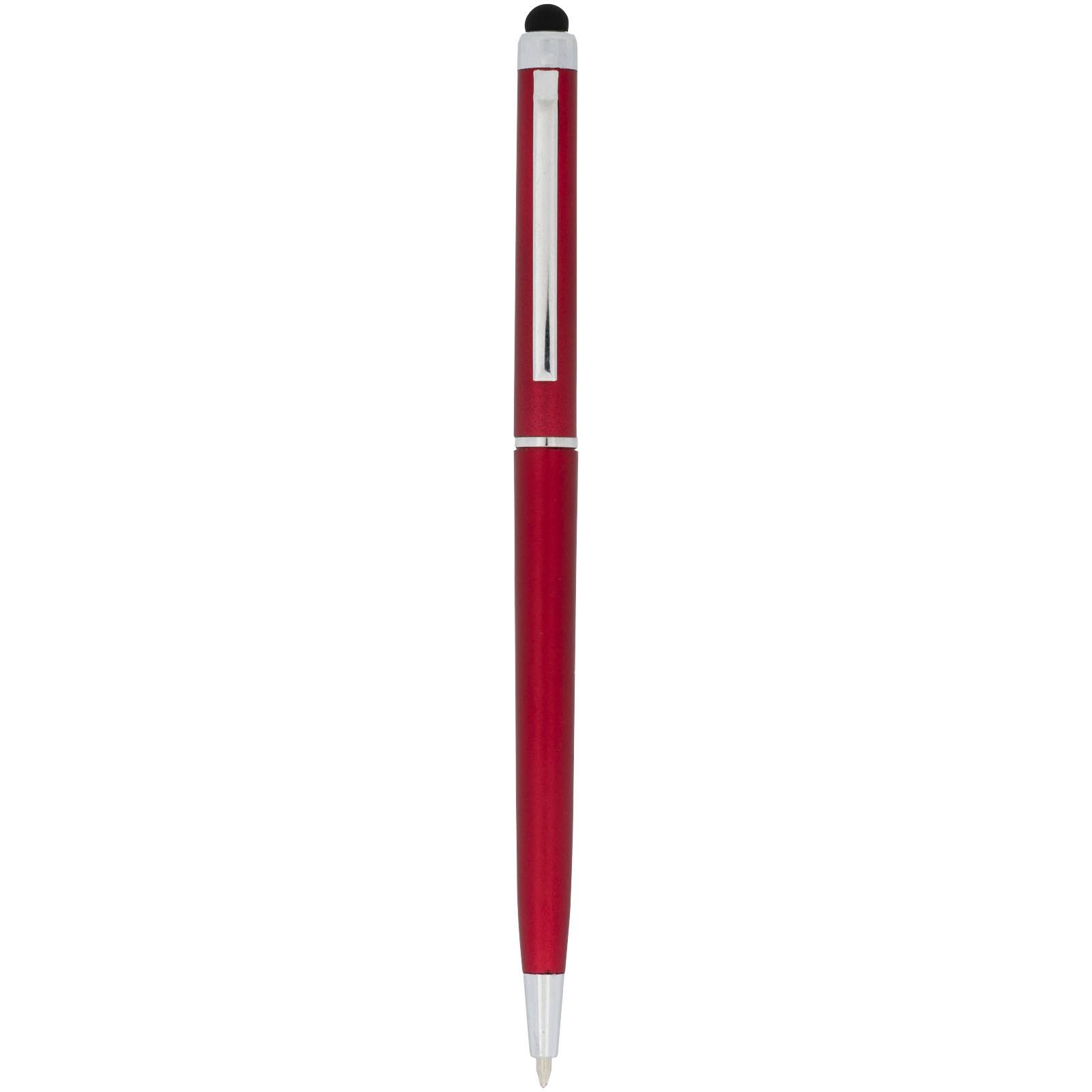 Kuličkové pero a stylus Valeria z ABS plastu - Červená s efektem námrazy