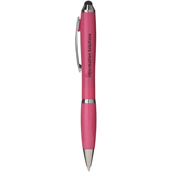 Barevné kuličkové pero a stylus Nash s barevným úchopem - Magenta