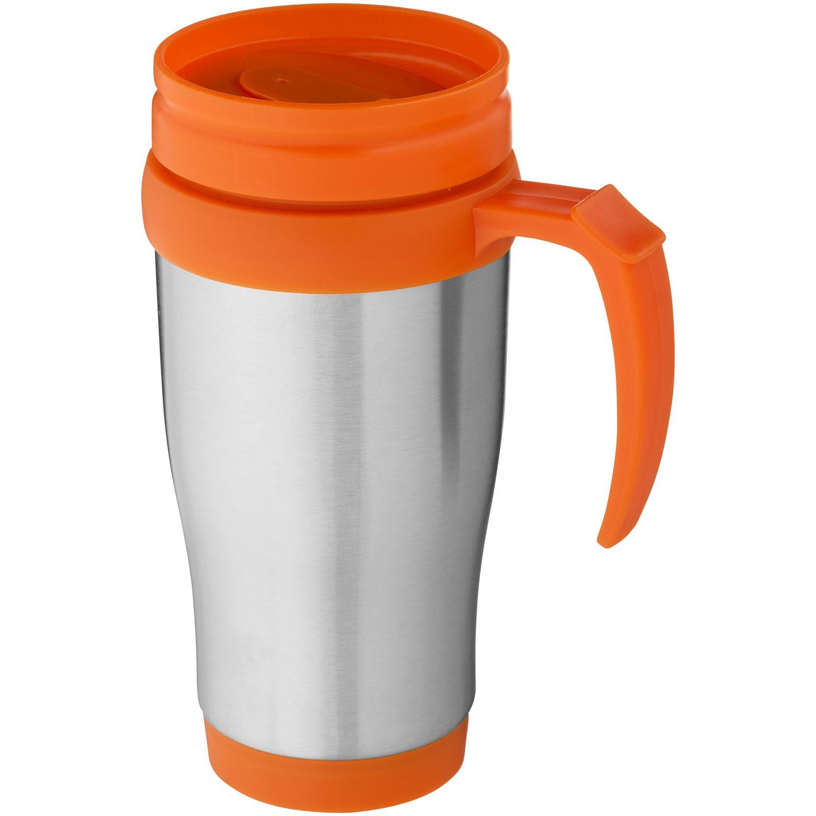"""Taza isotérmica de 400 ml """"Sanibel"""" - Plateado / Naranja"""