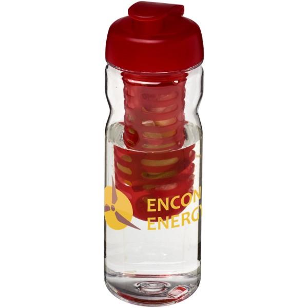Láhev s infuzérem a vyklápěcím víčkem Base Tritan™ 650 ml - Průhledná / Červená s efektem námrazy