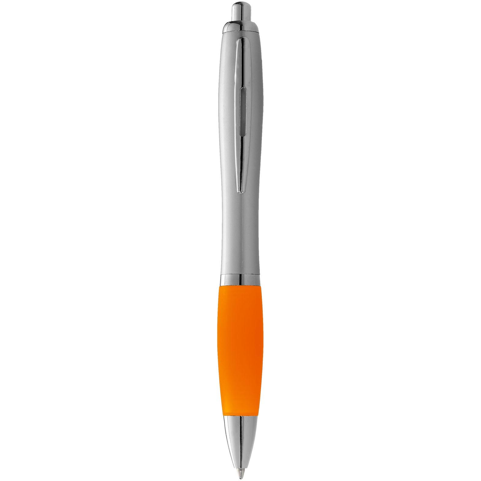 Stříbrné kuličkové pero Nash s barevným úchopem - Stříbrný / 0ranžová