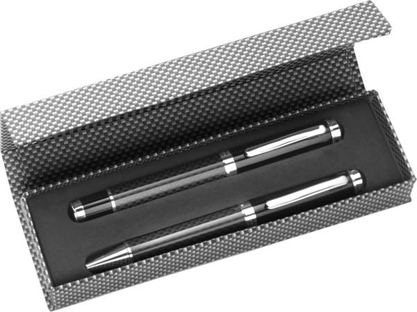 Carbon fibre and brass writing set