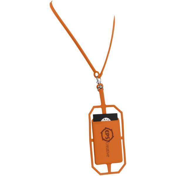 Fort-rock silicone RFID card holder with lanyard - Orange