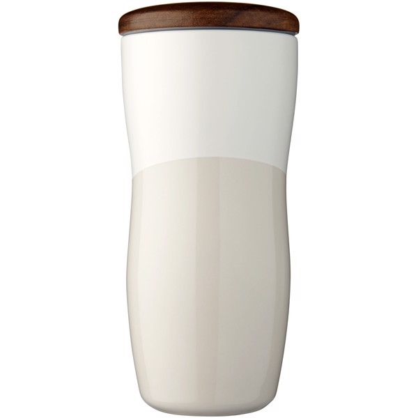 Reno 370 ml doppelwandiger Keramikbecher - Weiss