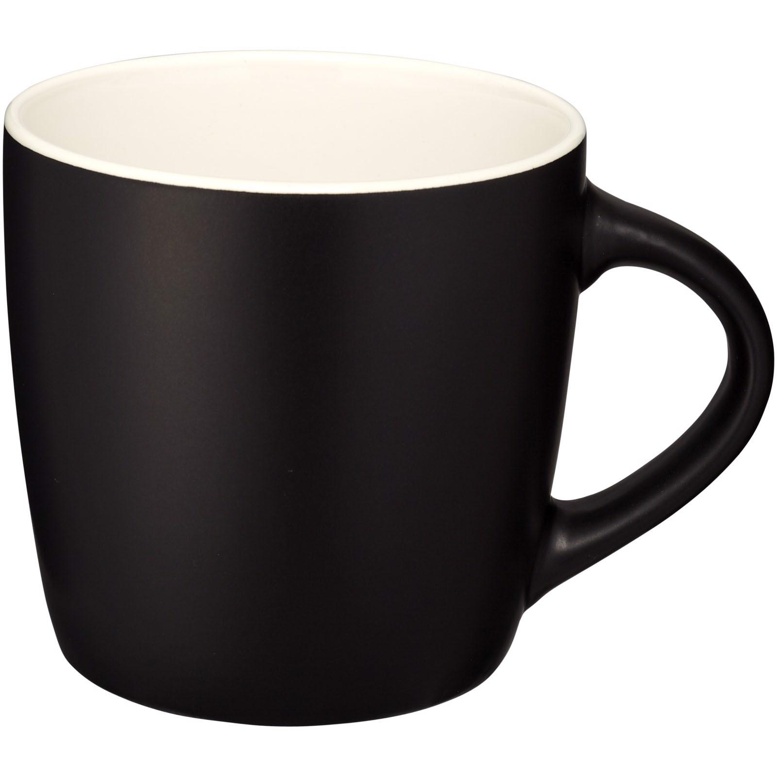 Riviera 340 ml ceramic mug - Solid Black / White