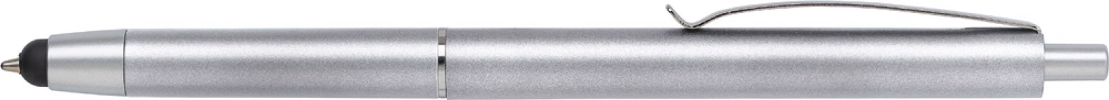 Plastic ballpen with rubber tip - Silver