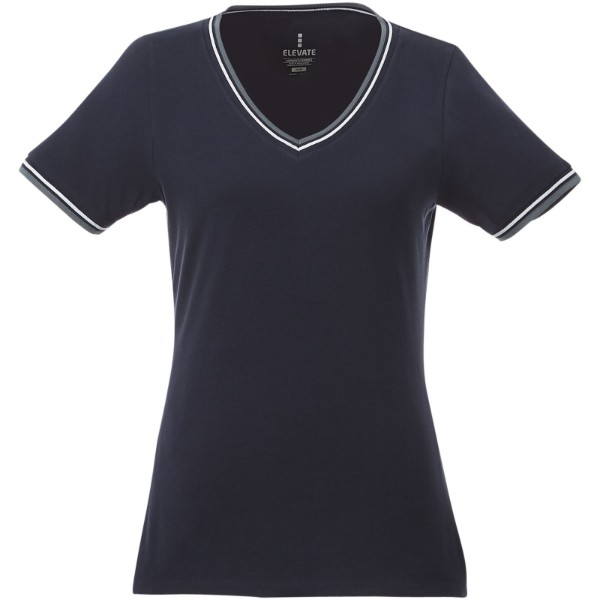 Elbert short sleeve women's pique t-shirt - Navy / Grey melange / White / S