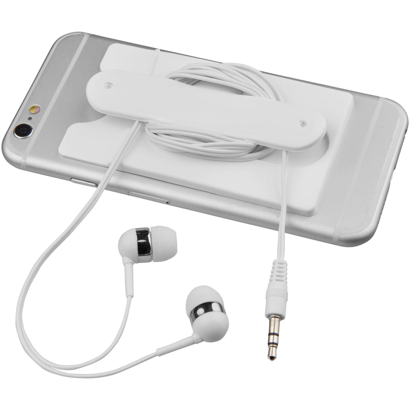 Sluchátka s kabelem a silikonové pouzdro na telefon - Bílá